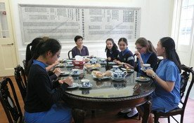 Tea with exchange students from Herschel Girls' School, South Africa, and Lycée Saint-Vincent, France